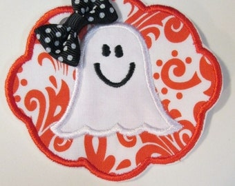 Halloween Girly Ghost in Scallop Circle Bow