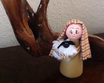 Shepherd Peg Doll,  Peg Nativity Shepherd, Crèche shepherd