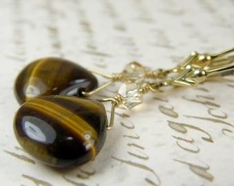 Tigers Eye Earrings, Brown, Mocha, Chocolate, Teardrop Stone, Gold Filled, Tiger Eye, Handmade Jewelry, Fall Fashion