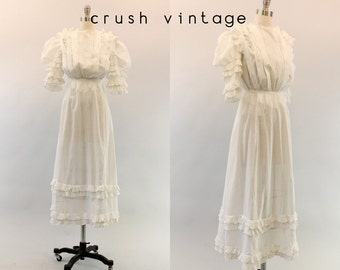 1910s Edwardian Dress XS /  Vintage Antique Lawn Dress /  Belle Amour Wedding Dress