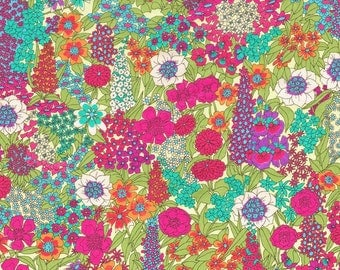 Liberty Fabric Ciara A Pink Green Tana Lawn One Yard