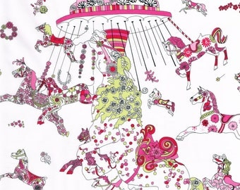 Liberty Fabric Emolly Can Can Tana Lawn Fat Quarter Pink Carousel Ponies