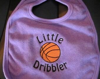 Embroidered Baby Bib- Little Dribbler- PURPLE- Basketball