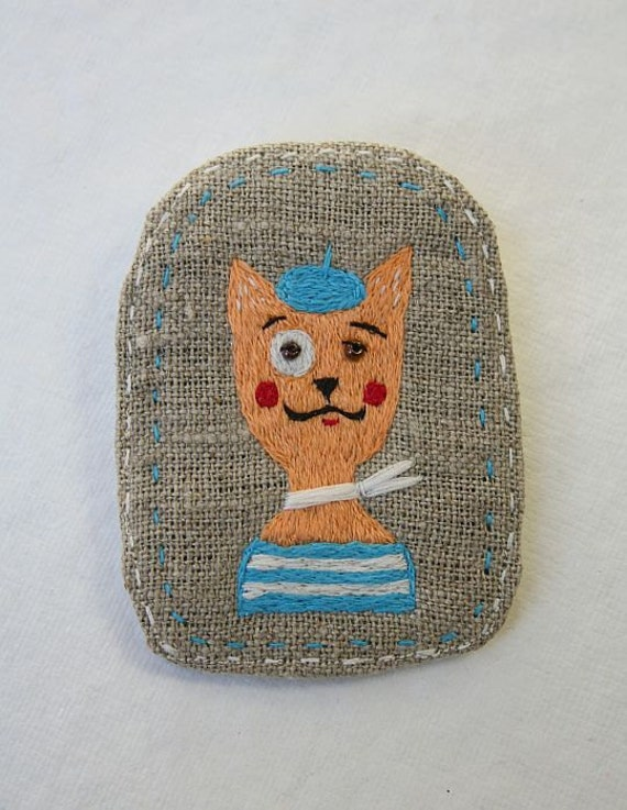 """Brooch  """"Monsieur Chat"""",  hand embroidery pet brooch with cat"""