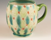 Handmade Mug, Porcelain, with Celadon, Lime Green Handle