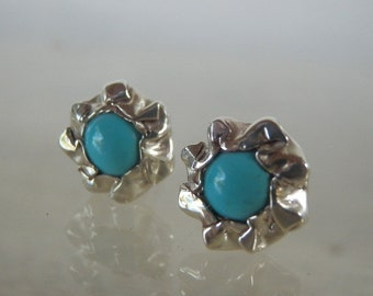 Turquoise Rose Organic Stud Earrings, Silver Stud Earrings, Turquoise Gemstone Earrings, December Birthstone Jewelry