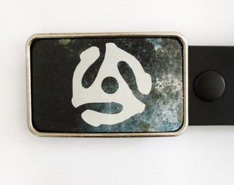 45 Thingy Record 70s Music Belt Buckle in Black and White