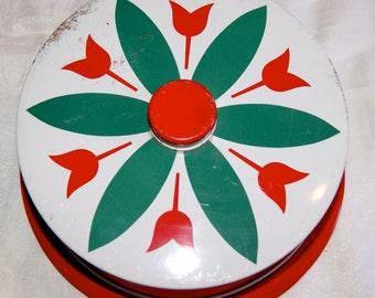 SALE Vintage Child's Tin Cake Keeper