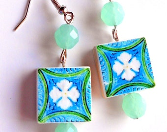 Portugal  Antique Tile Replica Earrings,  Aveiro Blue and Green - waterproof and reversible 392