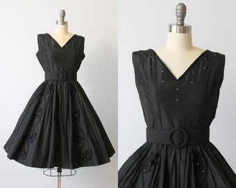 Vintage 1950s Dress / 50s Dress / Cocktail Dress / Party Dress / Flair