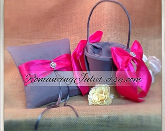 Bridal Satin and Sash Ring Bearer Pillow and Basket set with Rhinestone Accents...Your Color Choice..shown in pewter gray/dark fuschia pink