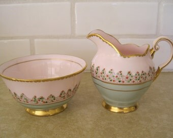 Tuscan English Bone China Creamer and Sugar Set Hand Painted  Dots Pastel Pink and Green Gold Trim