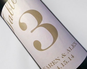 Wine Label Table Numbers..Choose your Colors... Gold on Pink