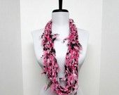 GladRagz Circle of Chains Necklace Scarf in Pink, White, Black Chiffon Ready to Ship Infinity Circle Shredded Knotted Crochet Scarf