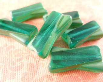 Forest Green Vintage German Glass Bowtie Rectangle Beads