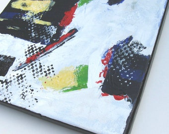 """Black and White Acrylic Abstract Painting, Modern Home Decor, Art on Canvas, 11"""" x 14"""", wall decor, gift idea"""