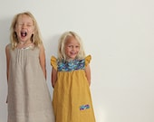Toddler and Youth Girls Yellow/ Mustard 100% Linen Fall Dress/ Tunic. Sizes 12 months to 8 years.