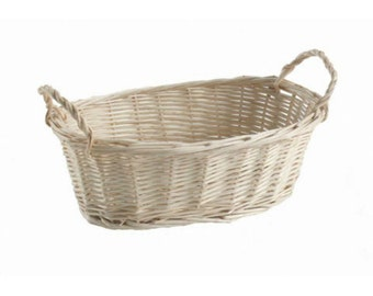 Natural Willow Wood Tray Basket with Handles