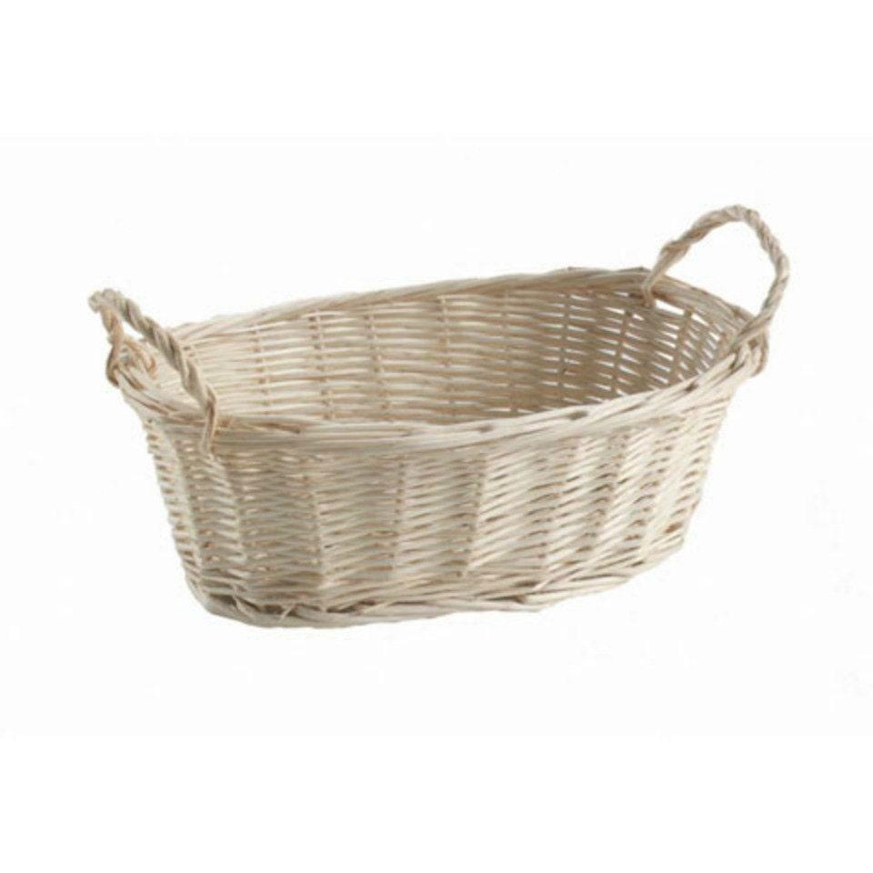 Willow Wicker Storage Basket Hamper Handles Natural Wooden: Natural Willow Wood Tray Basket With Handles