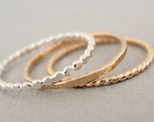 Gold Rings and Silver Ring thin stacking rings mixed metal