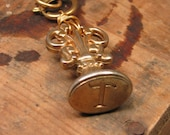 Upcycled Jewelry - Vintage Wax Stamper with Initial T Long Length Brass Necklace - Letter Writing