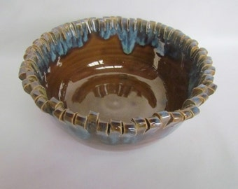 Pottery Bowl Amber and blue