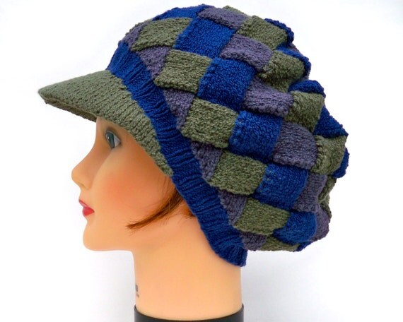 Knitting Pattern Entrelac Hat : Unisex Newsboy Cap Knit Entrelac Hat In Blue Grey and