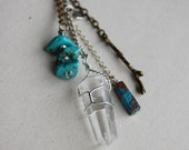 The Journey- Turquoise and Quartz Point Charm Suede Cord Necklace