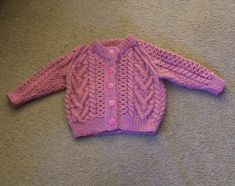 Hand Knitted - Pink Aran Childs Cardigan