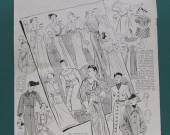 Orig Fashion Print 1935 Vintage Womens Clothing Pattern Illustration 30s Wardrobe Paper Ephemera Clothes Couture Ad Magazine Advertisement