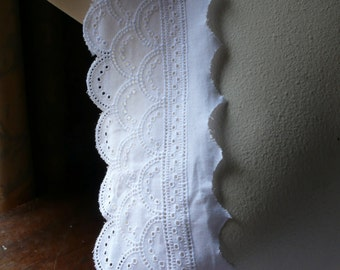 White Eyelet Lace Cotton French for Chemisettes, Bridal, Christening Gowns, Heirloom Sewing, Costumes CEF 1