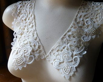 Lace Applique Collar Pr. in Ivory Venise Lace for Bridal, Straps,  Lolita, Sweaters, Lace Necklaces, Costumes PR 215