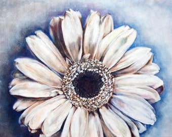 White Gerbera on Blue, Original Acrylic Painting on Canvas, Contempory Flower Art Box Canvas