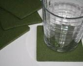 Square Felt Drink Coasters in 5mm Thick Virgin Merino Wool Felt Fabric Eco friendly Felted Barware Housewarming Hostess Gift