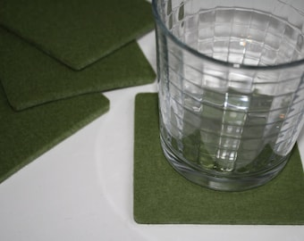 Square Felt Drink Coasters in 5mm Thick Virgin Merino Wool Felt Fabric Eco friendly Felted Barware Housewarming Hostess Gift