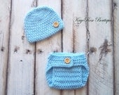 Newborn Baby Boy Hat and Diaper Cover Set Sky Blue