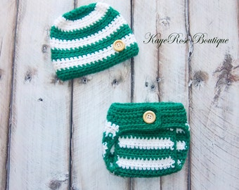 Newborn Baby Boy Hat & Diaper Cover Set Green and White Stripes