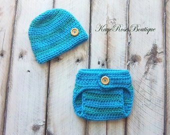 Newborn Baby Boy Hat and Diaper Cover Set Blue Stripes