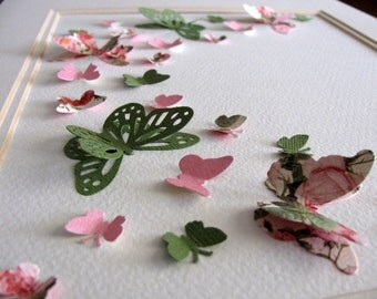 8X10 Shabby Roses & Vintage Lace 3D Butterfly Art / Rose Pink, Moss Green / Butterfly Wall Art / 3D Paper Art / Made to Order