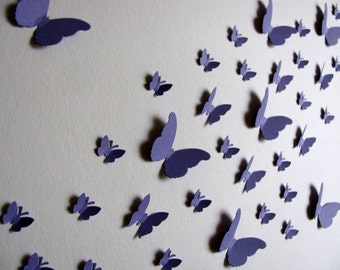 11x14 Monochromatic or Ombre 3D Butterfly Art. Mini Butterflies in HORIZONTAL Layout. YOUR Choice of Colours. Made to Order