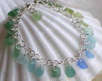 Natural Sea Glass Rare Colors Spectrum Bracelet 6.5 to 7.5 inch (618)
