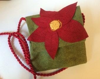 Olive Felt Bag appliquéd with Red Felt Flower