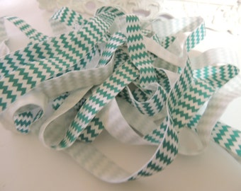 "5 Yards of 5/8"" Chevron Printed Fold Over Elastics FOE -  Aqua  and White"