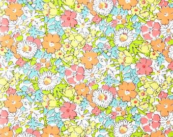 liberty of london - delilah cavendish A - tana lawn - fat quarter - pink,yellow, peach, green and aqua blue