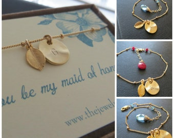 Maid of Honor gift, personalized jewelry, matron of honor initial bracelet with leaf, birthstone, bridesmaid gift, feminine