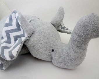 Elephant Stuffed Animal Nursery Decor or Toy  - Gray Fleece with Gray Chevron fabric