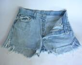 80s 90s Levi's 501 Cut Off Denim High Waist Shorts USA Distressed GRUNGE 32W