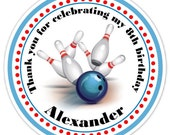 Bowling Birthday Labels, Bowling Stickers, Birthday Decoration, Personalized Children Stickers