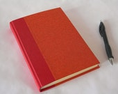 Lined blank book journal  - vermillion red gold dots chiyogami (6x8.5 in.) - Ready to ship