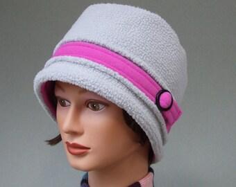 Fleece Winter Hat, Bucket Hat, Women Warm Hat, Lt. Gray Hat, Packable, Windproof, Orchid Trim, Black Accents, Adjustable Medium to Small